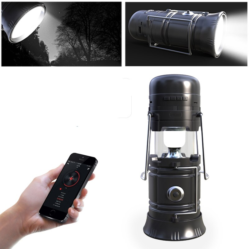 New Outdoor tool 5 In 1 Retractable LED Solar Lantern Torch Portable Emergency camping tent light Bluetooth Music Speaker