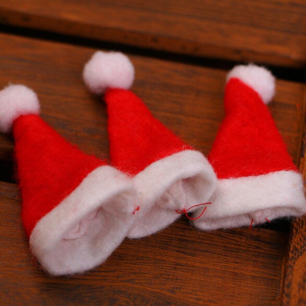 Mini Santa Claus Hat Christmas Xmas Holiday Lollipop Topper Cover Festival Decor Party DIY Decorations 1PCS