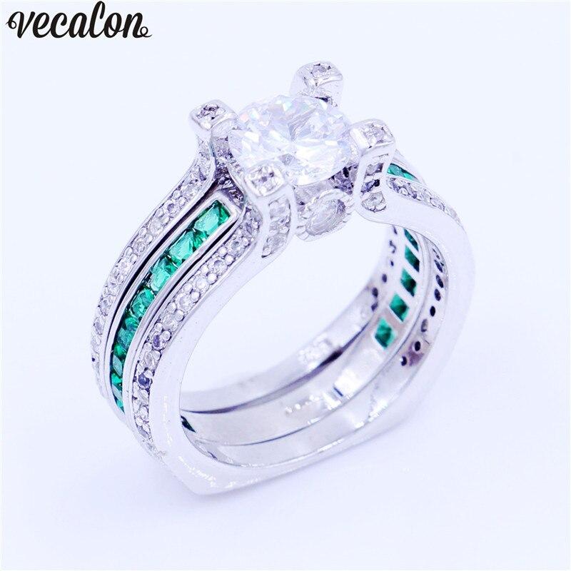 Vecalon feminino jóias de luxo anel de noivado verde aaaaa zircon cz 925 prata esterlina anel de casamento conjunto para mulher
