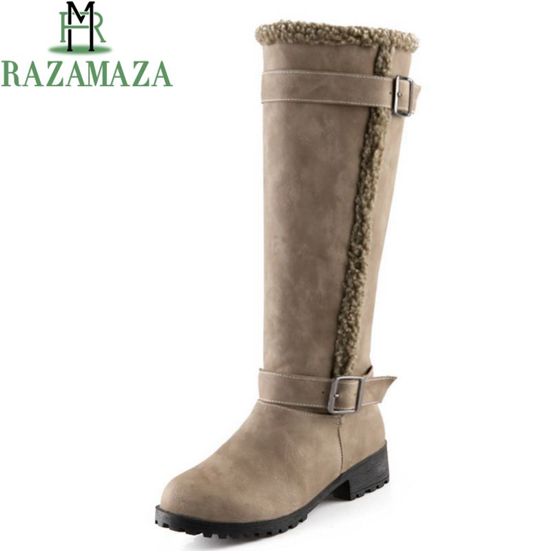 RAZAMAZA Size 34-43 Women Over Knee Snow Boots Thick Fur Shoes For Cold Winter Boots High Heel Boots Warm Botas Women Footwear