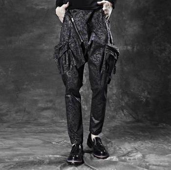Hot 2020 new men harem pants Korean slim personality rivets dark flowers mens pencil pants stylists male casual pants