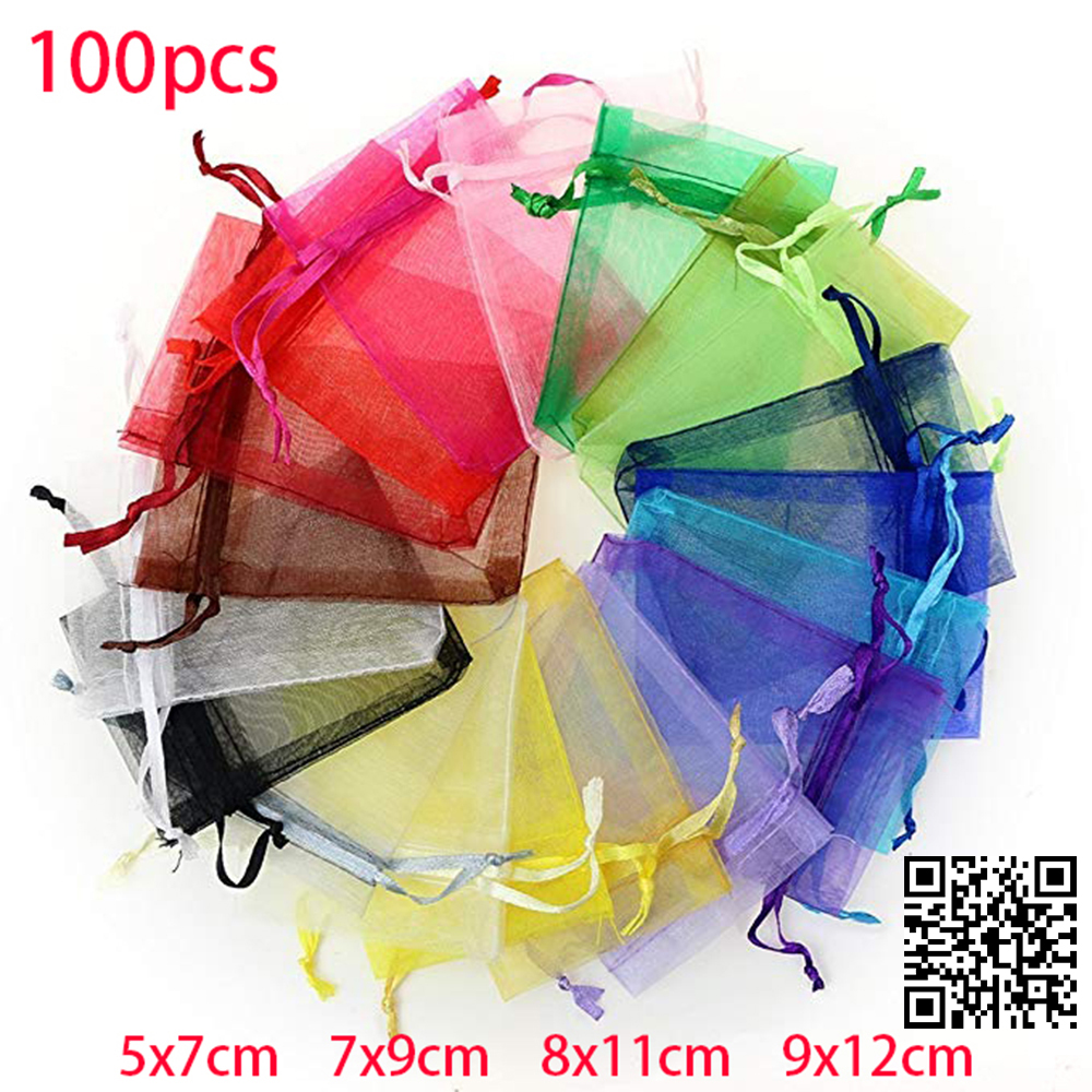 100pcs Jewelry Packaging Display Drawable Organza Bags Pouches Packing DIY Wedding Pouches Transparent Gauze Display Bags Gift