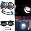 2PCS 105W 7 INCH LED Headlight With White Amber Turn Singal Lights DRL 4 INCH Foglight