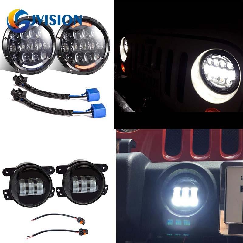 2шт 105 Вт 7 дюймов LED фары с Белый/Янтарный включите singal огни DRL + 4 дюймов противотуманной фарой дальнего света для Jeep Вранглер JK