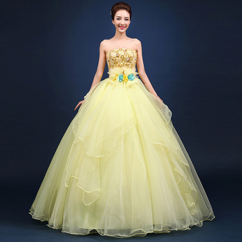Quinceanera Dresses Cheap Organza Yellow Floor Length Cheap Quinceanera Gowns Sweet 16 Dresses Vestido 15 Anos