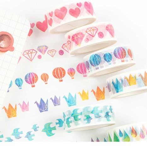 Watercolor Heart Diamond Washi Tape Masking Decorative Tapes DIY Scrapbooking Sticker Label Tape Japanese Stationery