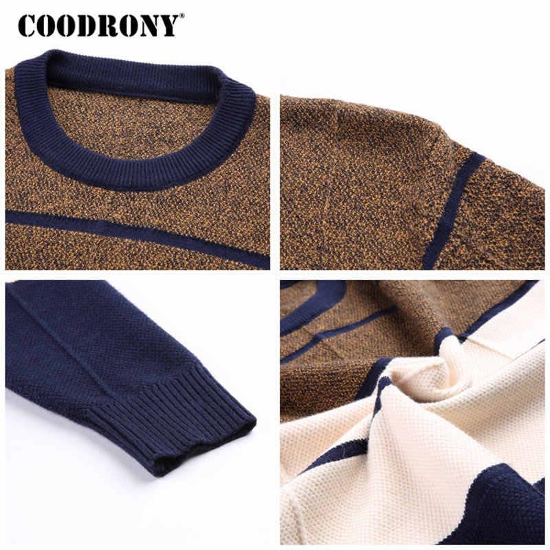 COODRONY свитера толстый теплый пуловер мужской повседневный полосатый свитер с круглым вырезом Мужская одежда 2018 Осенняя зимняя вязаная одежда Pull Homme 8161