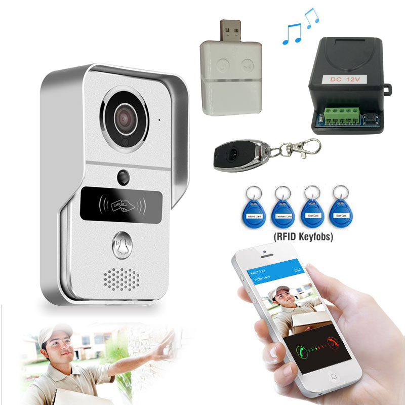 Wifi video door phone doorbell Wireless Intercom Support IOS Android RFID Keyfob Access Video Door Phone Intercom free shippping rfid access wireless lan wifi video door phone intercom metal outdoor bell camera for android ios phone tablet
