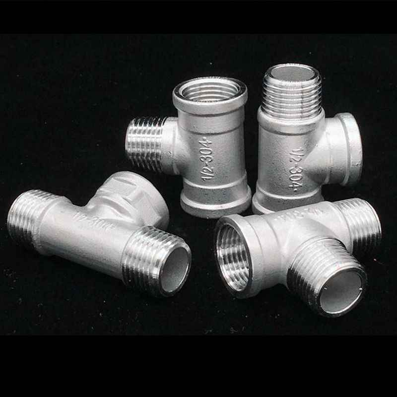 1/2'' BSP Male Female Thread Stainless Steel 20mm Tee 3 Way Pipe Fitting Connector 5 Type Adapter for Tube Connection