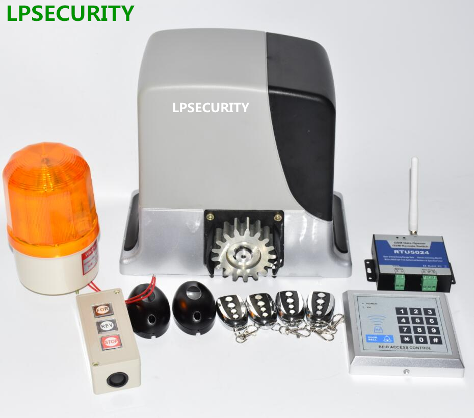 LPSECURITY 600kg automatic sliding gate opener motor with 4 remote controls(photocell, lamp, gsm, button optional) lpsecurity sliding gate opener motor