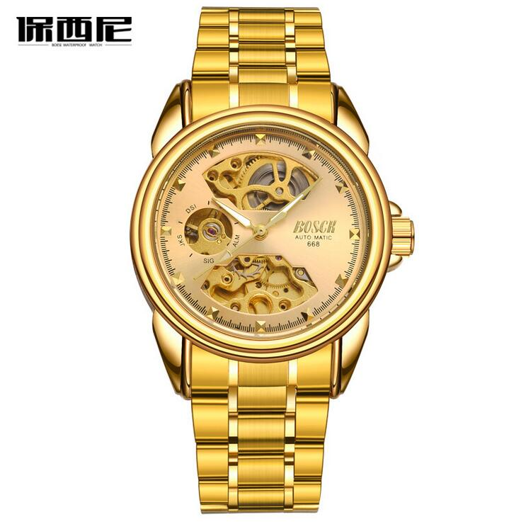 BOSOK668 new men's mechanical watches, high-end leisure hollow out watches, luxury fashion watch business men watch
