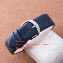 Watches Man Watchband strap Genuine leather Black Blue Watch Accessories16mm 18mm  20mm 22mm Silver steel buckle clasp promotion