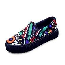 ผู้หญิงรองเท้าแบนฤดูร้อน2016แพลตฟอร์มกราฟฟิตีรองเท้าไม่มีส้นผู้หญิงจัดส่งบนผ้าใบEspadrilles