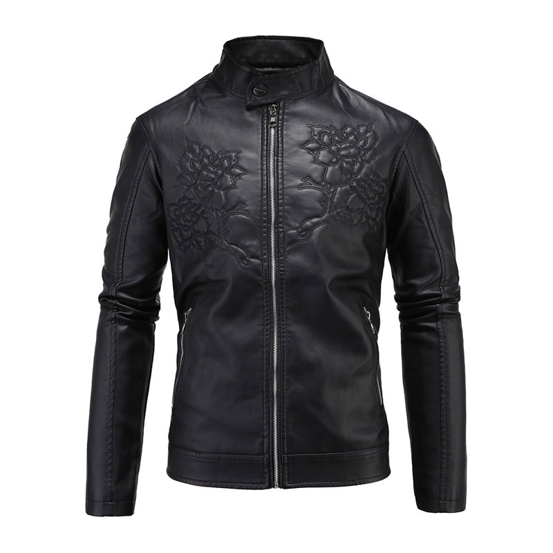 New Motorcycle Jacket Retro Vintage PU Leather Jackets Men Embossed Floral Leather Jackets Slim Fit Moto Jacket Punk Size M-5XL вьетнамки slim floral