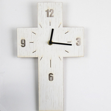 Simple Cross Hollow Wall Clock Wooden Clock Quiet Non-ticking Quartz Movement for Living Room Bedroom Christian Gifts