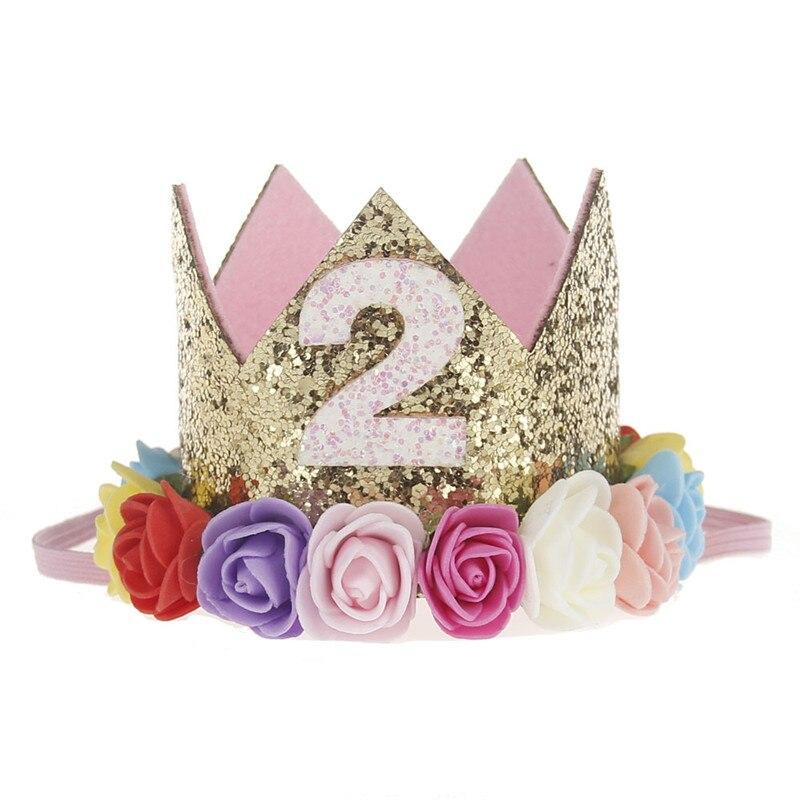 Искусственная нежная мини-фетровая блестящая корона с цветком повязка на голову для дня рождения Сделай Сам одежда для волос декоративные аксессуары - Цвет: Флуоресцентный желтый