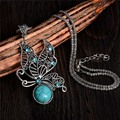 Free Shipping Vintage Style Womens Cute Butterfly Pendant Charming Turquoise Stone Necklaces Sweater chain