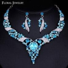 Minlover Noble Azul Perlas Africanas Sistemas de La Joyería Nupcial de Plata de Cristal Austriaco para Las Mujeres Collar y Pendientes Establecidas Joyería TL400