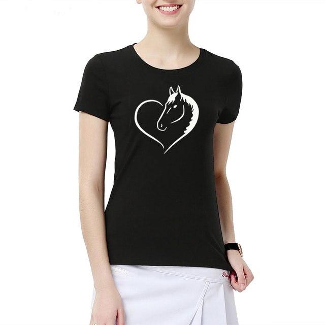 Fashion Love Riding Horse Women T Shirts Summer batwing sevele Cotton Funny Horse Girl T shirt Female Clothing Women Tops