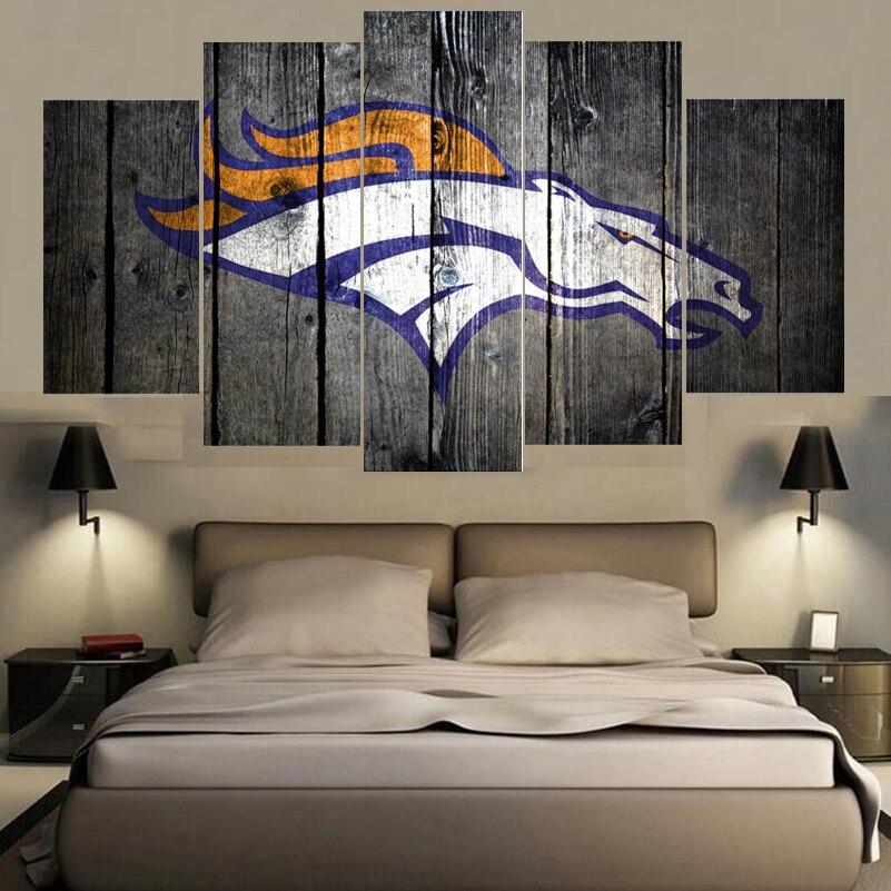 5 Panels Denver Broncos Animal Logo Paintings Wall Art