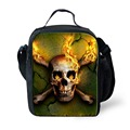 2016 Fashion Portable Insulated Lunch Bag Punk Skull Print Children Thermal Food Picnic Bags Kids Men Cooler Lunch Box Bag Tote