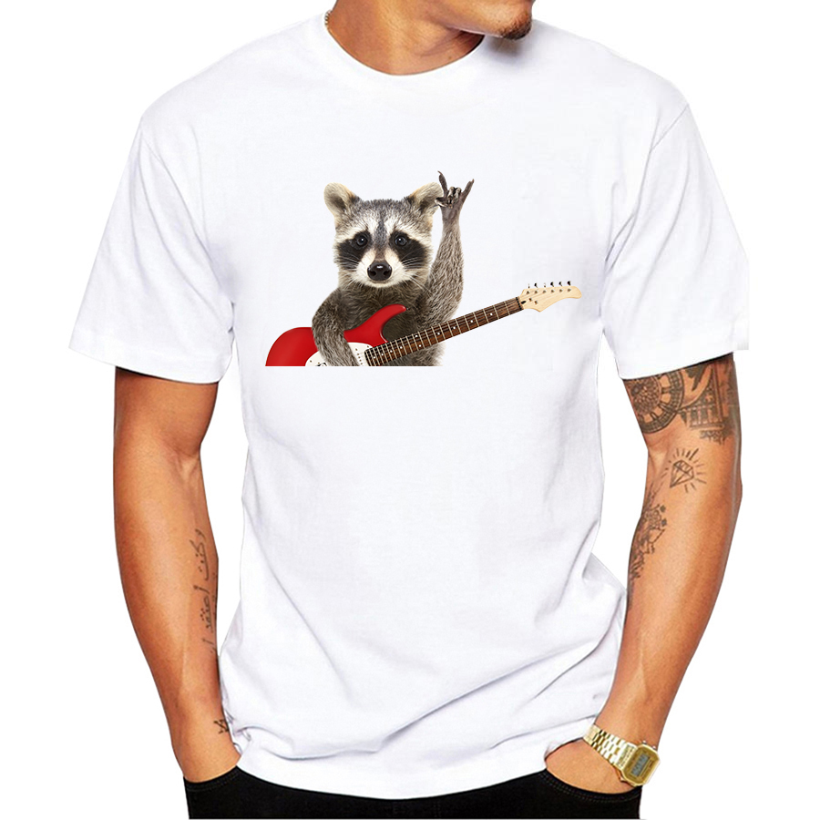 3b99b0d67 2019 Funny Raccoon Design Men T-Shirt Hipster Short Sleeve T Shirt Fashion  Cute Animal