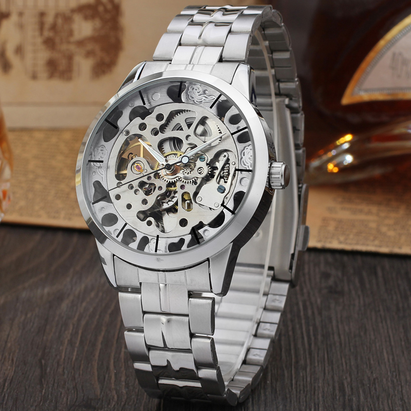 Men's Watch Gold Full Stainless Steel Transparent Automatic Mechanical Watch Skeleton Steampunk Clock Men Relogio Masculino 2019