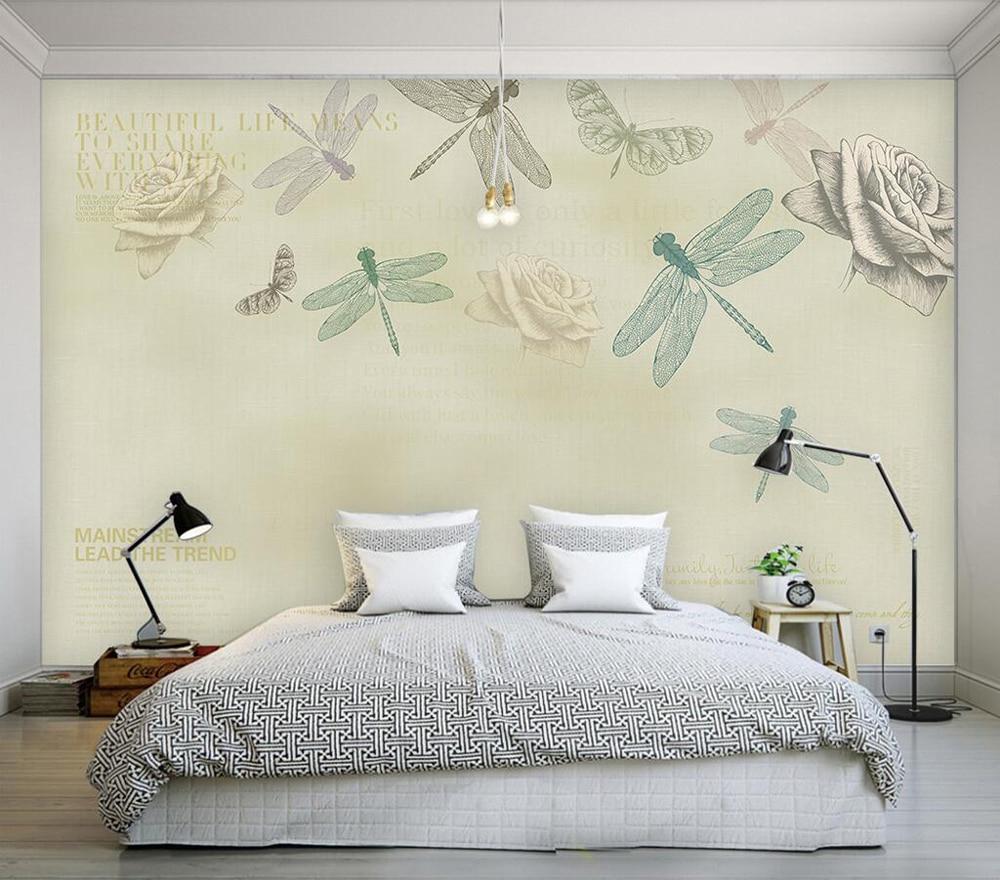 100% Wahr Dekorative Tapete Hand Bemalt Rose Libelle Hintergrund Wand Malerei