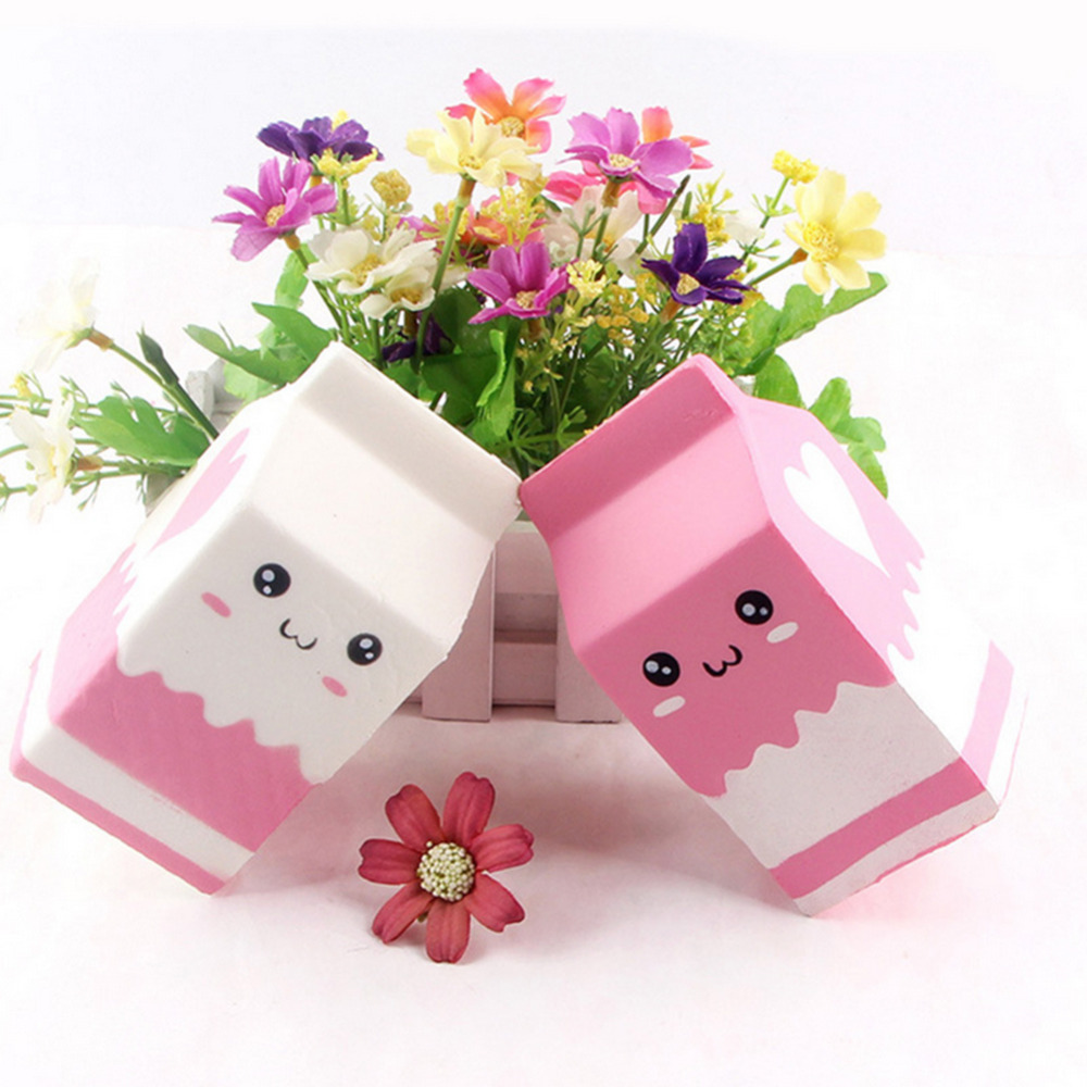 1 Pc Wholesale 11.5 Cm  Cute Milk Box Slow Rising  Phone Straps Squeeze Scented Bread Kids Fun Toy Gift White&Pink