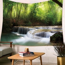 Wall Hanging Tapestry Waterfall Snow Pine Scenic Beach Towel Sea Wave Mountain Yoga Mat Outdoor Yard Living Room Office Decorate
