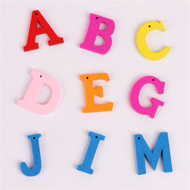 100 stücke Zufall Gemischte Größe Farbe Holz Brief Taste Für Kinder ...