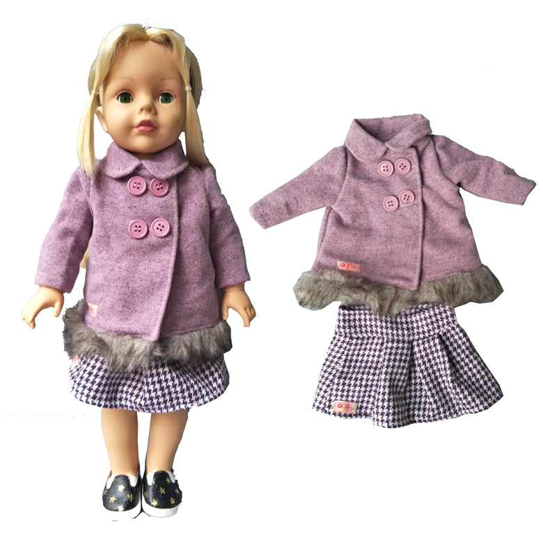 Winter Fur Coat and short dress Doll set for 18 inch 45cm American Girl doll Winter clothes set american girl doll clothes halloween witch dress cosplay costume for 16 18 inches doll alexander dress doll accessories x 68