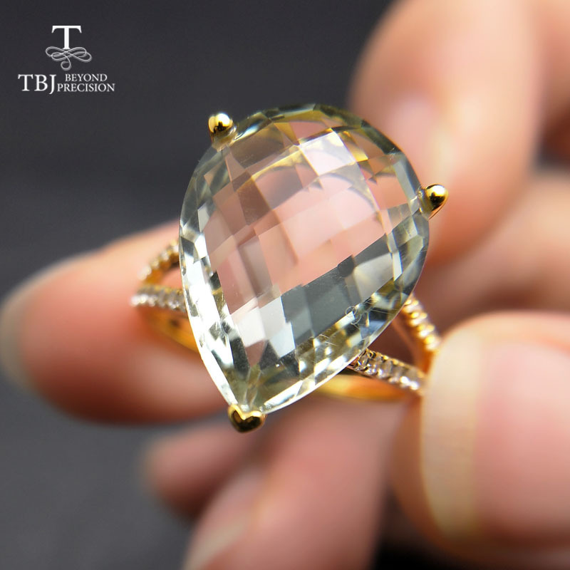 TBJ New big natural green amethyst Ring in 925 sterling silver yellow gold color gemstone jewelry