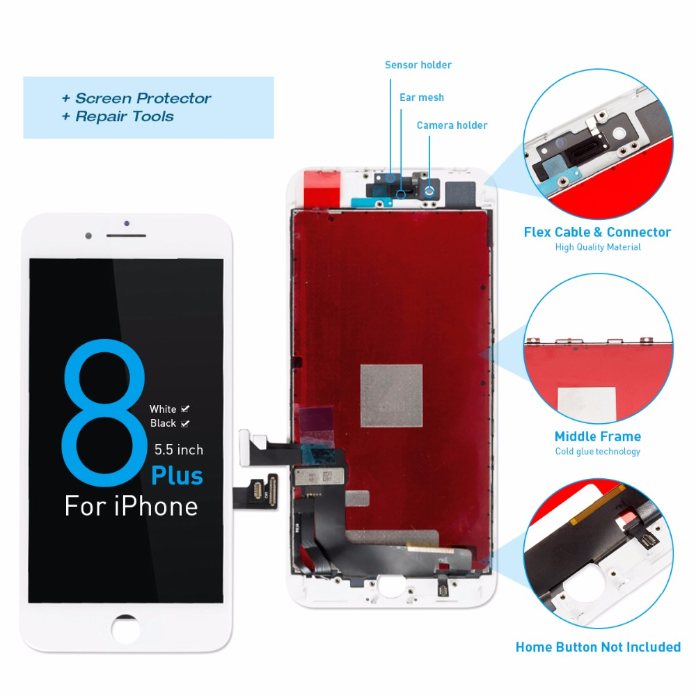 Grade AAA+++ Screen For iPhone 8 8 Plus LCD OEM Display Digitizer Assembly Replacement With 3D Touch Warranty  Lens Pantalla