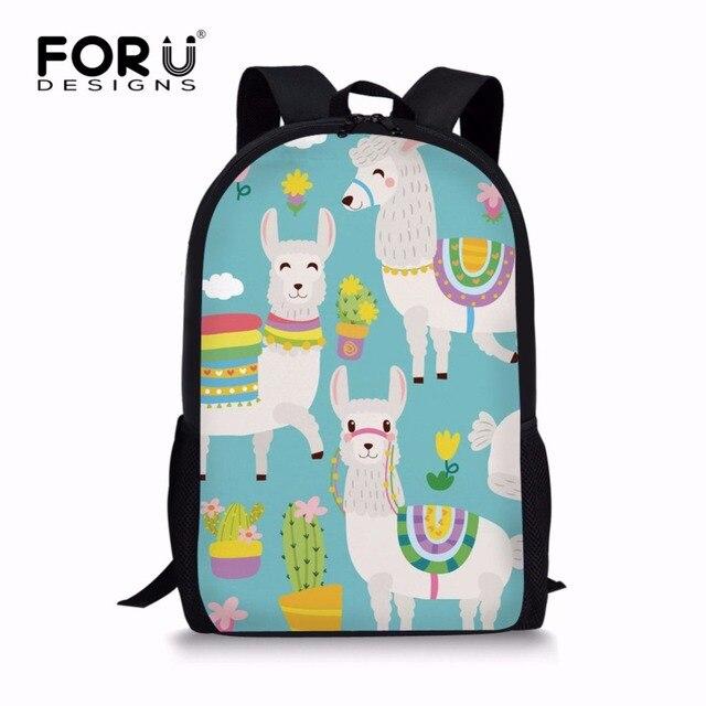 ce4561236c FORUDESIGNS Kawaii Alpaca Print Girls School Bags Cute Cartoon Pattern  Children Book Bags Mochila Kids Student Backpack Knapsack
