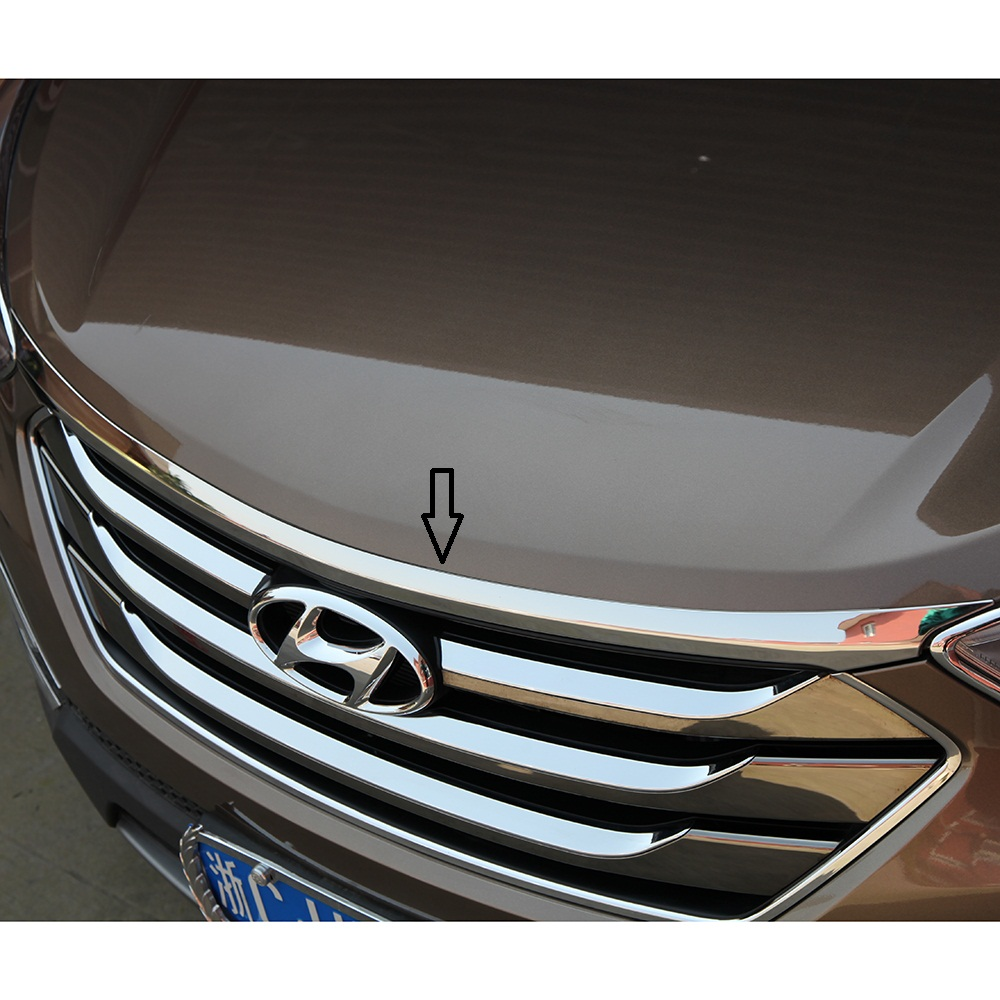 Stainless steel hood garnish Front Engine Machine Lid Cover Trim Trims for 2013 2014 2015 2016 2017 Hyundai New Santa Fe IX45 олег трушин под счастливой звездой
