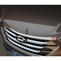 Stainless steel hood garnish Front Engine Machine Lid Cover Trim Trims for 2013 2014 2015 2016 2017 Hyundai New Santa Fe IX45