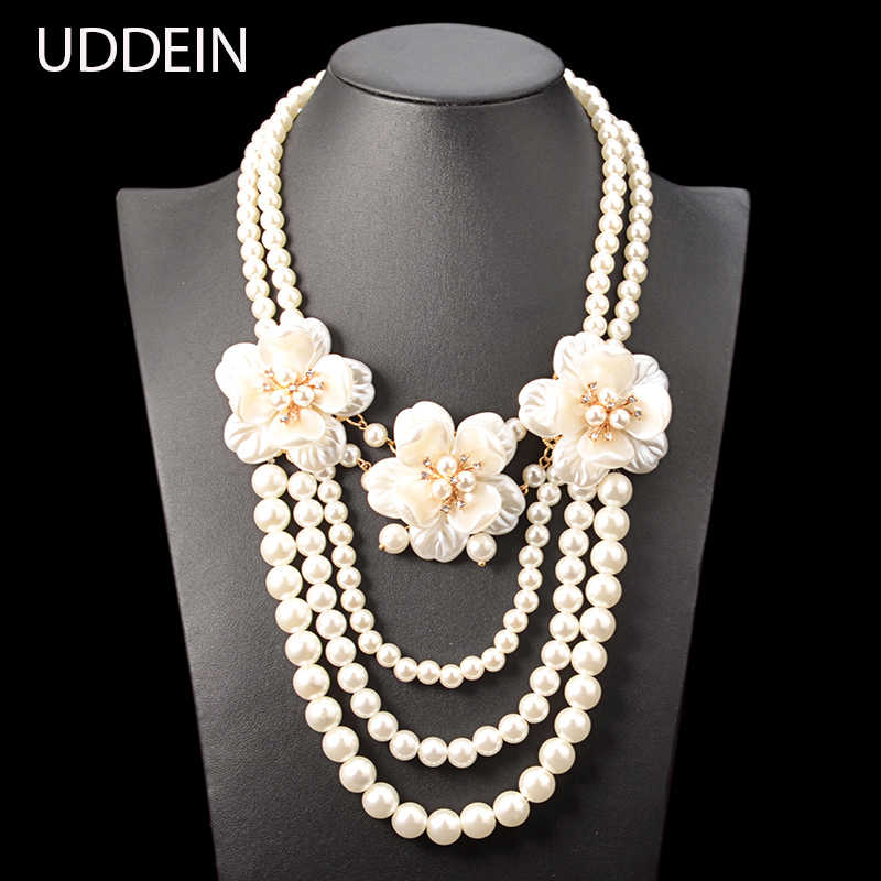 UDDEIN simulated pearl jewelry fashion flower necklace women wedding bridal accessories African beads jewelry maxi necklace