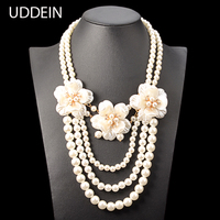 Multi Layer Simulated Pearl Jewelry Fashion Flower Necklace Women Wedding Bridal Accessories African Beads Jewelry Maxi