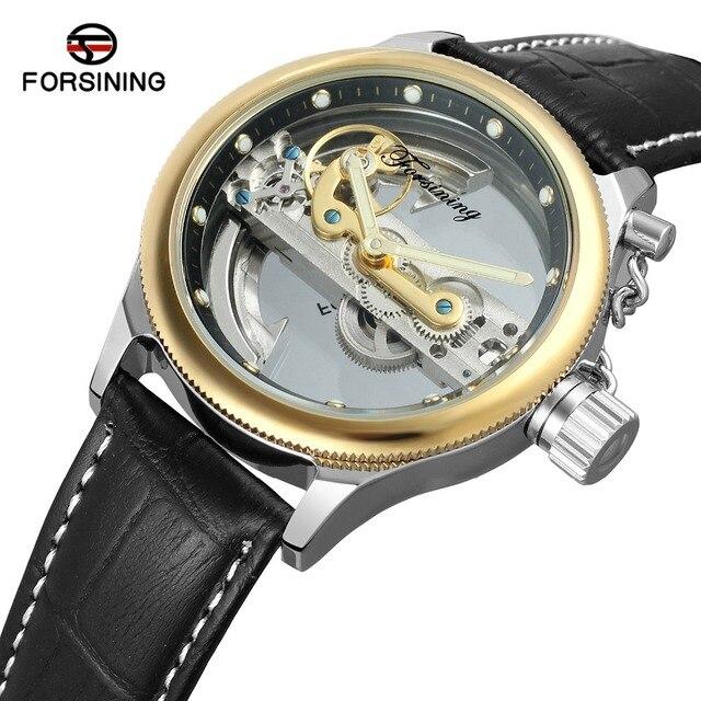 24d6efdd74f Relógios Mecânicos Automáticos de Esqueleto dos homens FORSINING Online  Projeto Popular Pulseira de Couro Masculino Relógio
