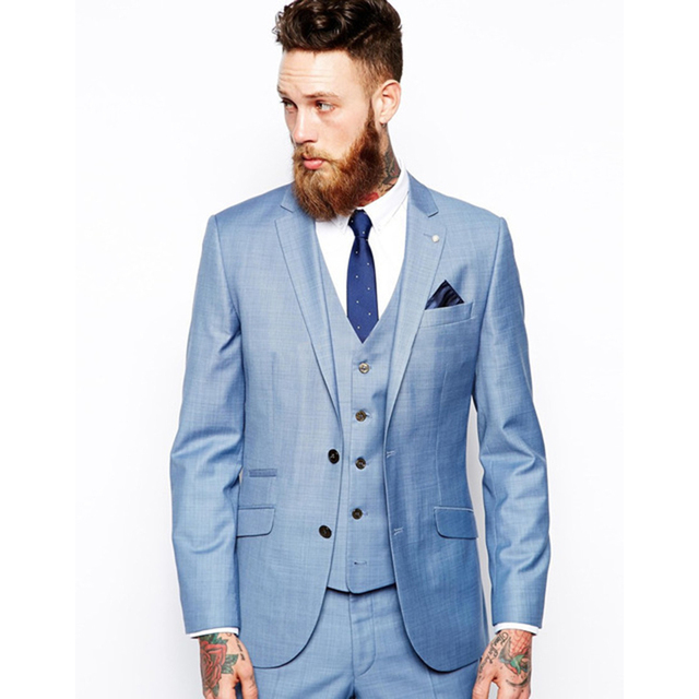 Italian Style Men Suit 3 Piece Custom Made Light Blue Groom mens ...