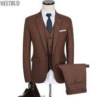 MEETBUD Nuovo uomini di marca del vestito da sposa slim fit business casual partito sposo marrone blu rosso grigio abiti da uomo vestito (jacket + pants + vest)