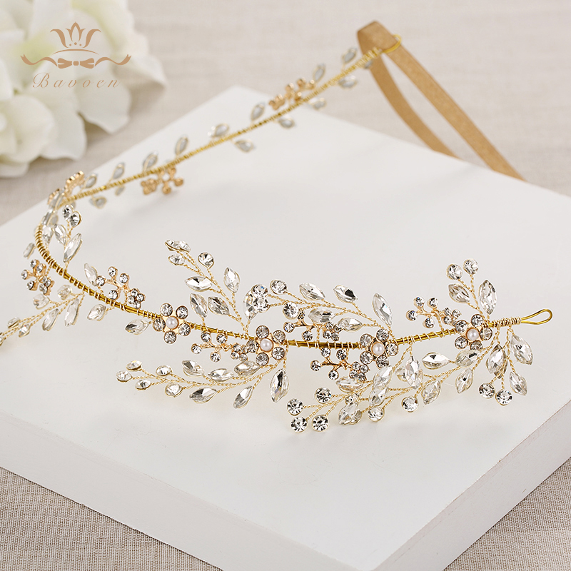 Bavoen Wedding Handmade Gold Hairbands Brides Korean Soft Rhinestone font b Tiara b font Headwear Crystal