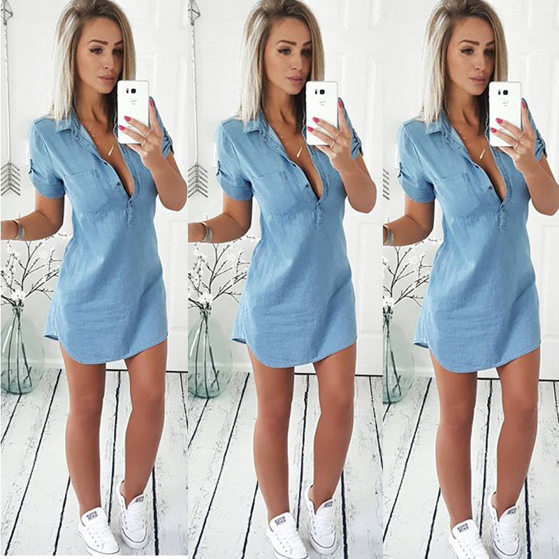 Retro Stylish Women Casual Blue Denim Dress Sexy V-Neck Short Sleeve Summer Mini Dresses 6-14
