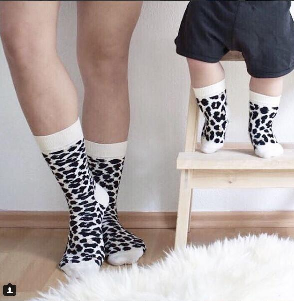 1 Pair Print Unisex Adult Men Women Kids Baby Middle Tube Cotton Socks Family Matching Parent-child Socks Free Size