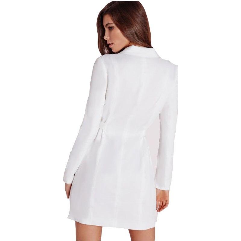 Women's Clothing Oleitum Women Dress Vestidos Solid White High Waist Casual Slim Ol Dresses Sexy Plunge Neck Elegant Blazer Mini Dress Dr443