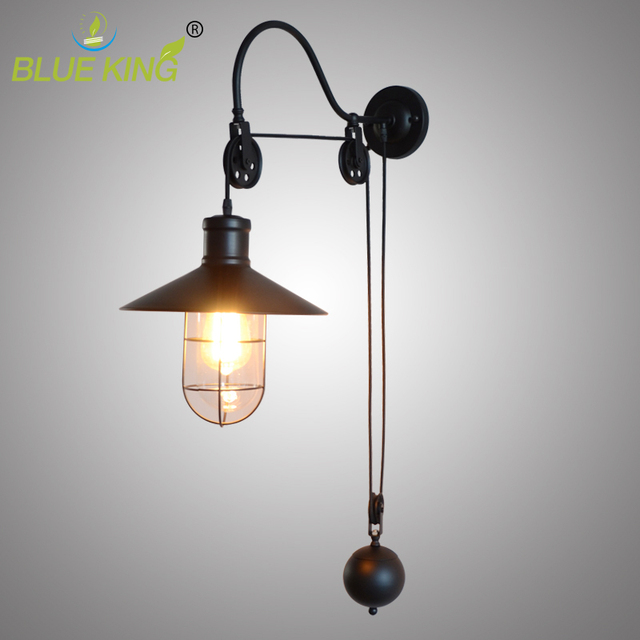 E27 Lamp Base Vintage Industrial Birdcage Warehouse Pulley Metal Wall  Sconces Matte Black Painting Adjustable Wall
