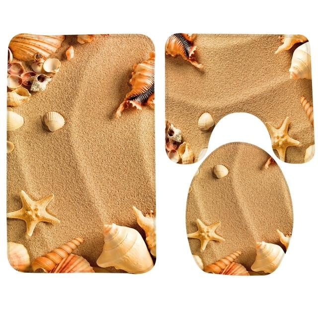 Bagno Mat Set 3 Pezzo Beach Sea Shell Modello Tappetino Wc Antiscivolo Tappeto B