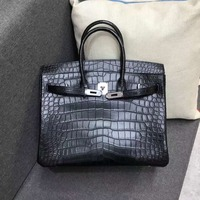 2018 new Level Quality end High Real genuine crocodile skin women handbag 35cm length with cow skin lining silver color buckle