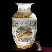 Jingdezhen Antique Golden Ceramic Vase Riverside Scene at Qingming Festival Chinese Porcelain Vases